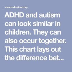 ADHD and autism can look similar in children. They can also occur together. This chart lays out the difference between ADHD and autism.