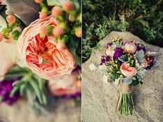 Bouquets coral peach mint indigo  | peach garden rose coral hypericum berry mint succulent grey dusty ...