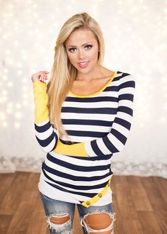 Patches of mustard striped top