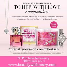 Enter to WIN Avon Sweepstakes April 2017. The To Her with Love Giveaway includes FREE Absolute perfume, Sterling Silver necklace, candle, Elgin watch & more! NO Purchase Necessary!
