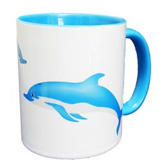 Twin Swimming Dolphins in Blue Design Ceramic Mug. A good quality ceramic mug, with an attractive blue handle and inner. Dishwasher proof. Height is 9.5cm, diameter 8.2cm, with a capacity of 310 ml. From the Series 6 Animals Range by Half a Donkey Ltd. www.halfadonkey.co.uk