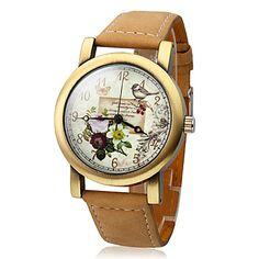 Women's Polymer Clay PU Analog Quartz Wrist Watch (Brown) – USD $ 9.99