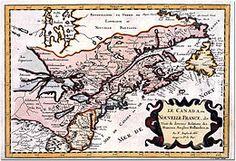 Gravure représentant une carte de la Nouvelle-France en 1660.