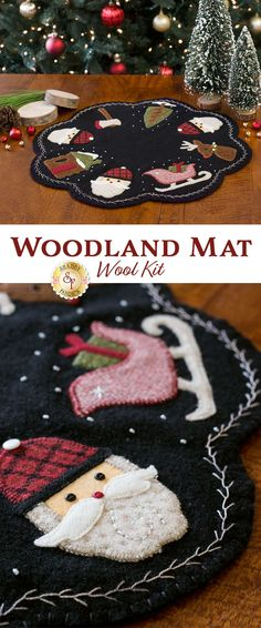 It's Christmas in the woods with the darling Woodland Mat! Santa Claus has on his favorite plaid hat and Rudolph is ready by the sleigh in this festive table mat! Get the pattern or kit from Shabby Fabrics!