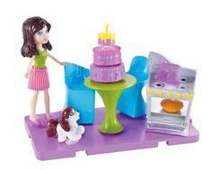 Polly Pocket Stick 'n' Play Kerstie Baking Party Playset by Mattel. $12.00. Come hang out at Pollys house. Girls will love building and rearranging Pollys home. Includes 1 doll, room, furniture, and accessories. A great gift that any girl will love. Use with other Stick 'n' Play rooms to customize the ultimate house. From the Manufacturer                Polly Pocket Stick 'n' Play Room Playset Collection: Why go out when it can be just as much fun to hang at Polly doll's ...