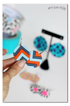 how to make duck duct tape round earrings - this is a super simple and fun project! - - Sugar Bee Crafts