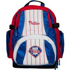 "The Philadelphia Phillies bring this amazing Trooper backpack, made from heavy polyester with reflective nylon trim, spacious zippered interior, inner laptop pouch (9""x11""), zippered outer pocket, mesh side pouches, adjustable back straps, and team logos printed and embroidered on the top and back. Officially licensed by the MLB. Height: 16 inches Width: 15 inches Depth: 6 inches"