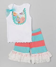 Look at this #zulilyfind! Aqua & Coral Tank & Ruffle Shorts - Infant, Toddler & Girls by Ruby and Rosie #zulilyfinds