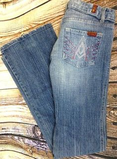 7 For All Mankind Womens Sz 29 A Pocket Boot Cut Jeans Distressed Denim Bling   #7ForAllMankind #BootCut