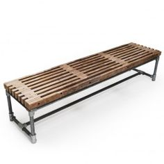 Bænk af træller L 200 x B 49 x H 44 cm. Slidt trælle på stel i galvaniseret… Bench Furniture, Diy Pallet Furniture, Outdoor Furniture, Outdoor Decor, Industrial House, Industrial Furniture, Industrial Bench, Pet Hotel, Gym Decor