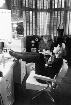 Audrey Hepburn, at home. Again, it's another simple, plain vanity, compared with the one in Breakfast at Tiffany's.