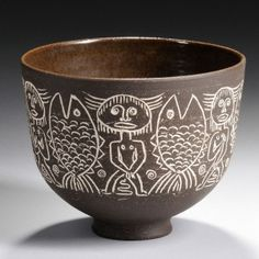Edwin and Mary Scheier, Decorated Bowl, New Hampshire, c. 1960