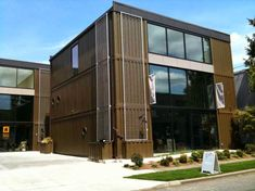 Shipping container office or shop made using 6 shipping containers great design.