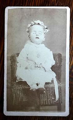 ANTIQUE POST-MORTEM CDV PHOTO- DEAD BABY FROM LEADVILLE COLORADO- MARY BYRNE ...