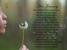 Funeral Poem Her JourneyDon't think of her as gone awayher journey's just begunlife holds so many facetsthis earth is only one.Just think of her as restingfrom the sorrows and the tearsin a place of warmth and comfortwhere there are no days or years.Think how she must be…