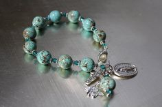Catholic Rosary Bracelets | Turquoise and Crystal Catholic Rosary Bracelet. | crafts