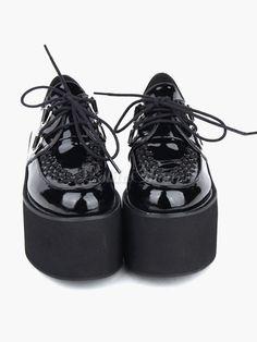 Lolitashow Lovely Black Round Toe PU Leather Street Wear Platform Lolita Shoes - Lolitashow.com