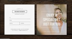 "5"" x 5"" GIFT CARD Professional Photography Templates SKU - m0184"