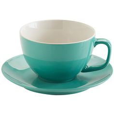 Price & Kensington Jade Green Large Cup and Saucer 15oz ($9.08) ❤ liked on Polyvore featuring home, kitchen & dining, drinkware, kitchen, tea, tea saucer, tea cup saucer, tea cups and saucers, stoneware mugs and tea cup