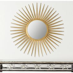 The hand-wrought iron Sun Flair sunburst mirror feels just as at home in traditional dcor as it does in midcentury modern. Its elegant artisan-crafted gold finish makes this stunning decorative element shine. Mirror Crafts, Starburst Mirror, Dressing Table Mirror, Wall Mounted Mirror, Wall Mirror, Traditional Decor, Home Decor Outlet, Club Chairs, Metal Walls