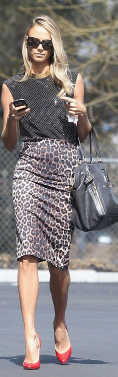"leopard pencil skirt, red shoes, big bag, and sweet sunnies. Scaled down 6"" but still sweet."
