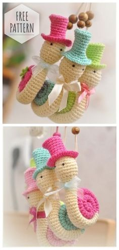 Amigurumi knitted snails description free pattern