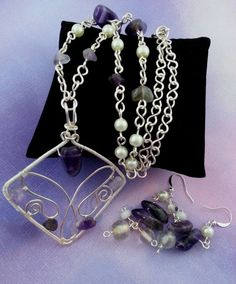 Amethyst and Faux Pearl Wire Wrapped Necklace with by AurabyPortia, $45.00