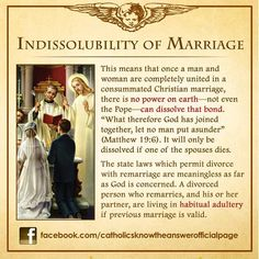Catholic Teaching: The Sacrament of Marriage is a lifelong commitment in the eyes of the Church. Nothing can change this except for an annulment. Catholic Marriage, Catholic Religious Education, Catholic Theology, Catholic Catechism, Catholic Answers, Catholic Religion, Catholic Quotes, Catholic Prayers, Religious Quotes