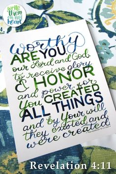 Hand-painted Scripture Wall Art and Greeting Cards - prints or printables, your choice! Bible Verse Wall Art, Scripture Art, Bible Verses, Revelation 4, Verses For Cards, Online Printing Companies, Hand Lettering, Quotations, How To Memorize Things