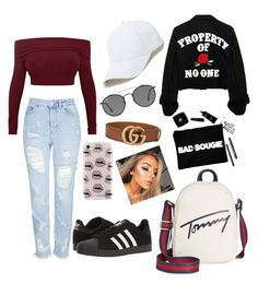 """""""Untitled #48"""" by poulsentiril on Polyvore featuring Topshop, adidas, Tommy Hilfiger, Sole Society, Ray-Ban, Rebecca Minkoff and Gucci"""