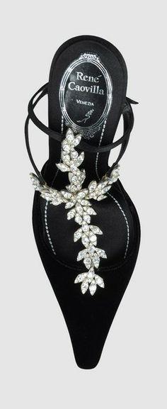 Rene' Caovilla ~ Spring Crystal Embellished Black Sandal 2015