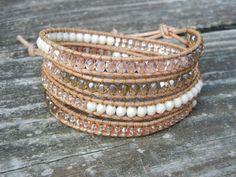 Beaded Leather Wrap Bracelet 4 Wrap with Peach by BraceletsByBetz, $48.00