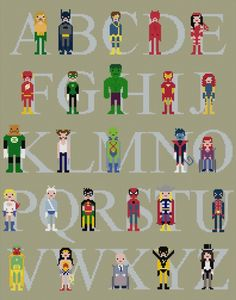 Superhero's cross stitch sampler. How freaking adorable is this!?!