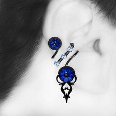 Dark Blue Swarovski Ear Cuff No Piercing Needed Blue