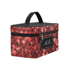Monogram Ruby Red Sparkle Cosmetic Bag/Large (Model 1658)
