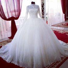 Manga longa Muçulmano Dubai Árabe Vestido de Princesa Nupcial Bola de Vestidos de Casamento Do Laço nupcial dubai vestidos de noiva vestido longo(China (Mainland))