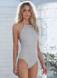 One Piece Halter Backless Wave Slim FIt Swimsuit