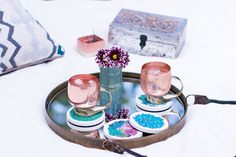 Add a beautiful splash of color to a simple setting with these succulent designer coasters. Watercolored beauties sure to impress at any occasion.