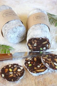 Chocolate salami is an easy no-bake dessert and makes a great DIY present. Get the recipe at PBS Food. This is absolutely perfect for holiday entertaining and gift-giving. LOVE the idea! Christmas Food Gifts, Christmas Cooking, Christmas Sweets, Italian Christmas Food, Christmas Hamper Ideas Homemade, Christmas Christmas, Christmas Entertaining, Christmas Chocolate, Christmas Drinks
