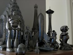 Awesome collection of silver sci-fi bits by Kirk Millett, via Flickr (I want that rocket ship!)