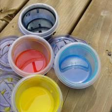 Corn syrup paint! Need two tablespoons of corn syrup and 1 tsp of food colouring. It gives a glossy look to the picture on fingerpaint paper.