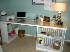 Old door and bookcases turned into a desk.  I did this exact same thing in our family room.  Took down all the closet doors (hollow core doors) in the house as they just didnt function well.  Made two desks out of them in our family room.  Painted the doors red and skirted the shelving below with a tropical print fabric to match the room.  Cost next to nothing, had the doors, had the old bookshelves.  Will have to take pics of my own to post here.