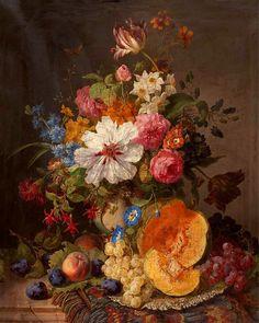 Johan Laurentz Jensen [Danish Painter, 1800-1856] still life with flowers