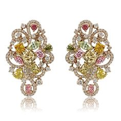 assorted fancy color #diamond #earrings with round brilliant accents set in 14k rose #gold #weddings #engagement #jewelry