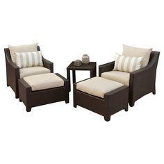 Enjoy cocktails on your three-season porch or an afternoon around the pool with this classic indoor/outdoor seating set. This stylish collection features 2 c...