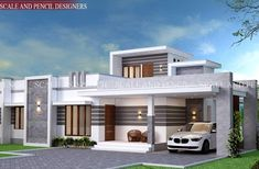Scale and Pencil provides Modern Residential Design in Edappally, Kochi. Latest New Home Designs in Ernakulam, Kerala that fulfill your dreams. House Porch Design, Single Floor House Design, Modern Small House Design, House Outside Design, Modern Exterior House Designs, Village House Design, Kerala House Design, Bungalow House Design, Modern Architecture House