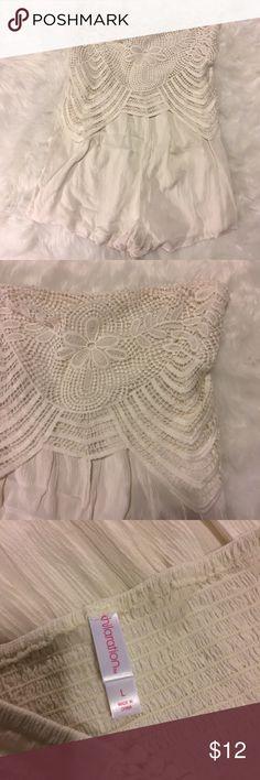 White Lace Strapless Romper Large White Lace Romper Large (: Xhilaration Dresses