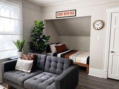 Small Modern Cabin, Studio Bed, Bed Nook, Room Interior, Interior Design, Cozy Corner, Room Setup, Cozy Place, Small Apartments