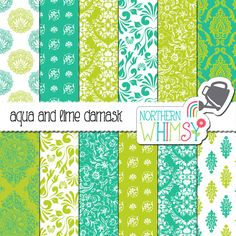 Aqua and Lime Damask Digital Paper Pack – lime green and aqua blue damask patterns – scrapbook paper - printable paper - commercial use