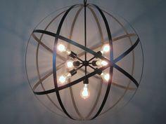 "Industrial Steel Strap 30 Inch Orb Ceiling Light Sphere Wine Barrel Ring 7 Light 70"" Edison Bulbs Black (850.00 USD) by VintageIronworks"